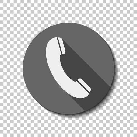 Telephone receiver icon. White flat icon with long shadow in circle on transparent background Illustration