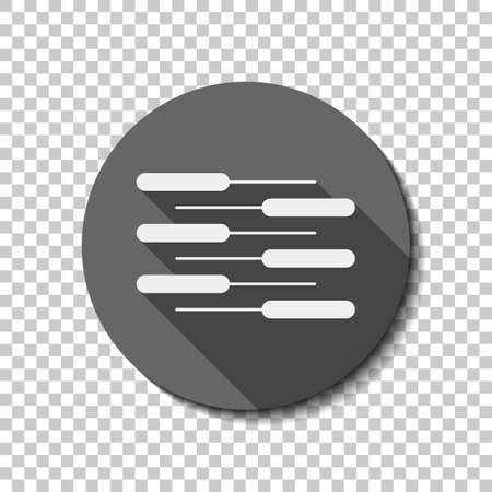 Double piano keyboard icon. Duet. Competition, Vertical view. White flat icon with long shadow in circle on transparent background Иллюстрация