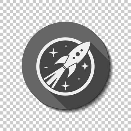 rocket launch with stars in circle icon. White flat icon with long shadow in circle on transparent background