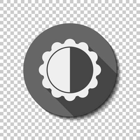 Brightness. simple silhouette. White flat icon with long shadow in circle on transparent background.