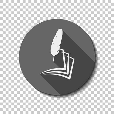 Feather and paper. simple silhouette. White flat icon with long shadow in circle on transparent background.