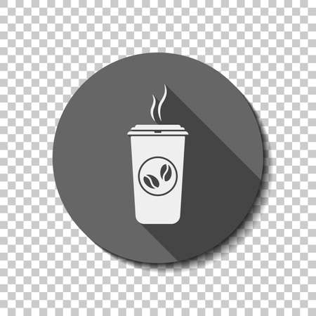 Cup of hot coffee icon. White flat icon with long shadow in circle on transparent background. Illustration