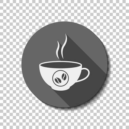 Cup of hot coffee icon. White flat icon with long shadow in circle on transparent background. Иллюстрация