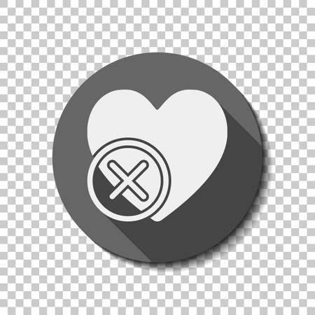 Heart with cross. simple silhouette. White flat icon with long shadow in circle on transparent background.