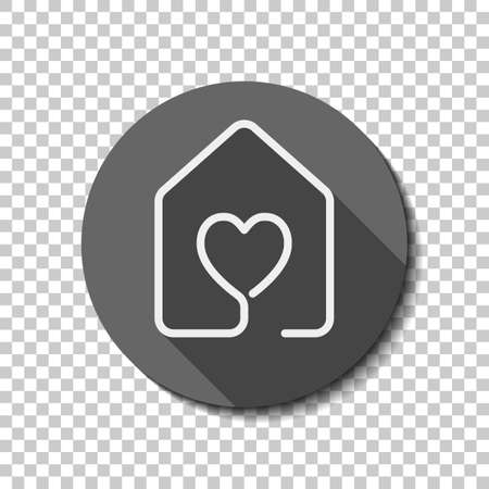 House with heart icon. line style. White flat icon with long shadow in circle on transparent background. Ilustração