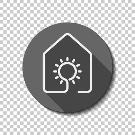 House with sun or light lamp icon. line style. White flat icon with long shadow in circle on transparent background