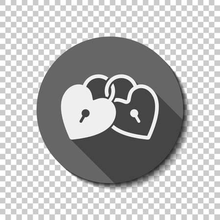 Linked hearts, lock icon. White flat icon with long shadow in circle on transparent background. Vectores