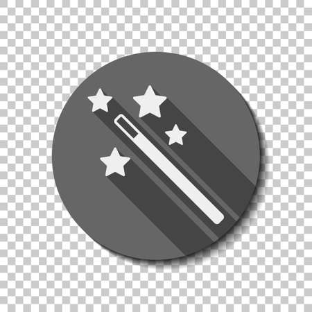 A magic wand with stars on simple silhouette. White flat icon with long shadow in circle on transparent background Vector Illustration