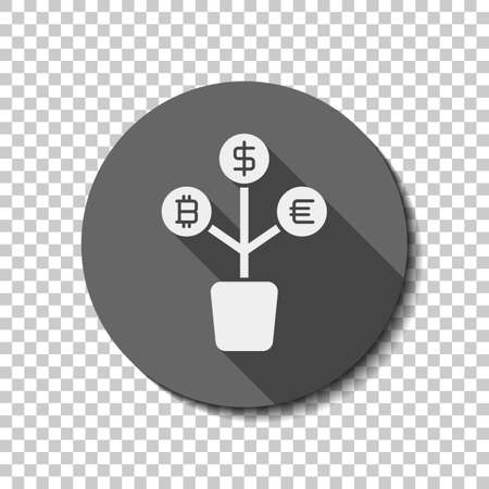 A money tree. dollar, euro and bitcoin. simple silhouette. White flat icon with long shadow in circle on transparent background Ilustracja
