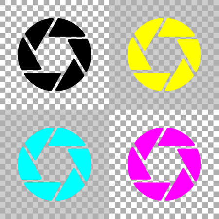 Camera objective. simple silhouette. Colored set of cmyk icons on transparent background