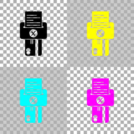 Credit card, POS terminal, failure icon. Colored set of cmyk icons on transparent background Ilustracja