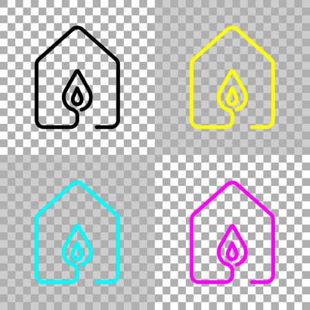 House with fire flames icon. line style. Colored set of cmyk icons on transparent background
