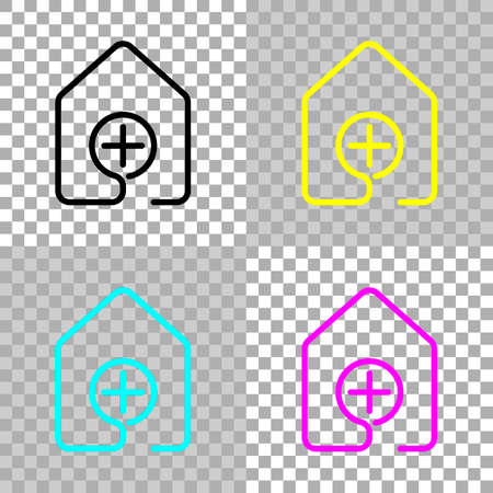 House with medical cross icon. line style. Colored set of cmyk icons on transparent background