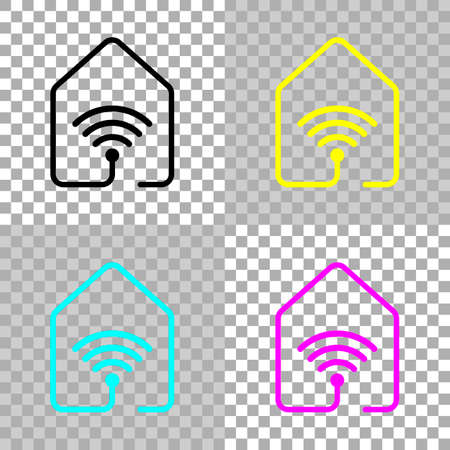 House with wifi icon. line style. Colored set of cmyk icons on transparent background Illustration