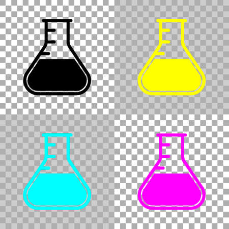 Medical test tube. simple silhouette. Colored set of cmyk icons on transparent background