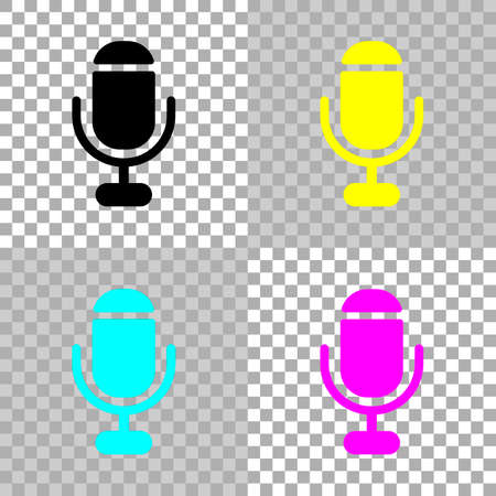 microphone. simple silhouette. Colored set of cmyk icons on transparent background Çizim