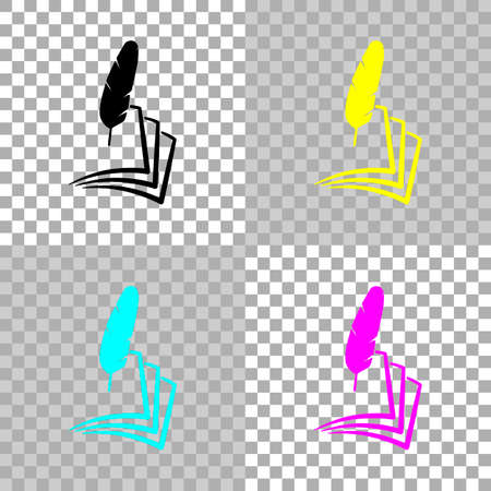 feather and paper. simple silhouette. Colored set of cmyk icons on transparent background Çizim