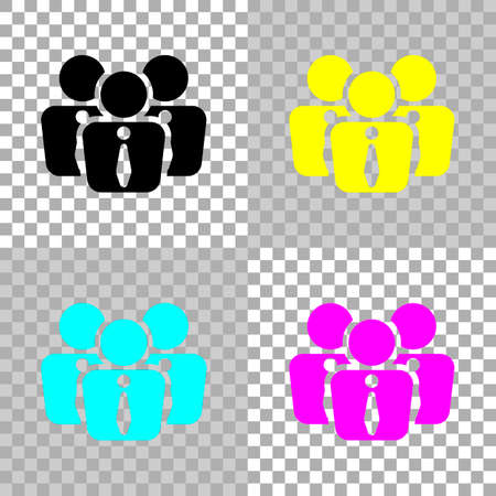 A office people, team. Colored set of cmyk icons on transparent background