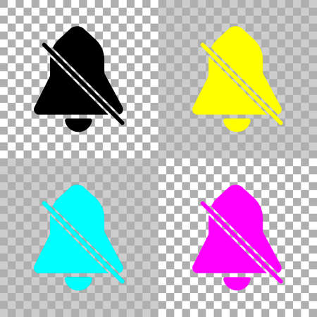 silent bell. simple icon. Colored set of cmyk icons on transparent background Illustration