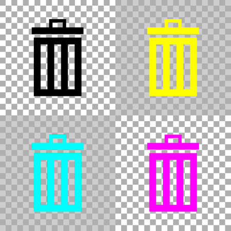 Trash bin. simple icon. Colored set of cmyk icons on transparent background.
