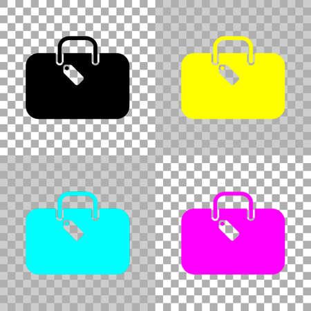 Traveling bag, luggage, case. Colored set of cmyk icons on transparent background. 向量圖像