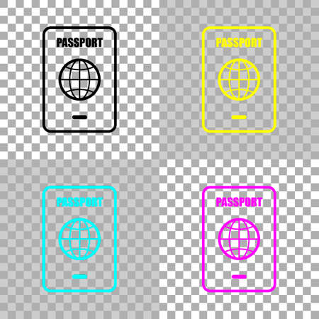 passport, simple icon. Colored set of cmyk icons on transparent background Illustration