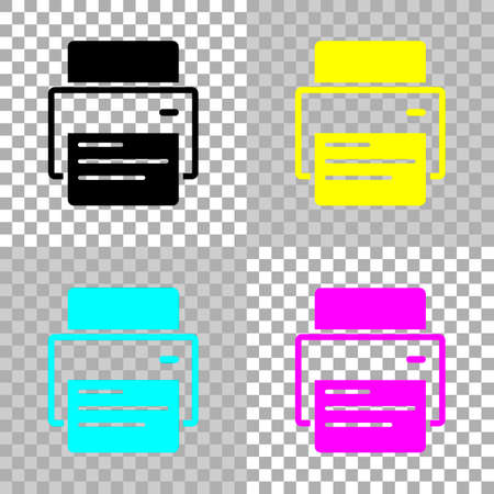 printer and paper. Colored set of cmyk icons on transparent background