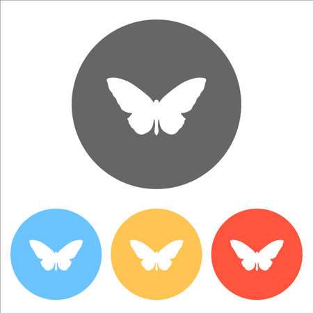 butterfly icon. Set of white icons on colored circles