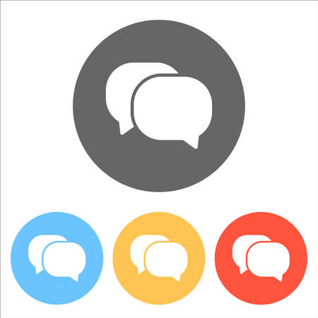 Chat icon. Set of white icons on colored circles illustration.