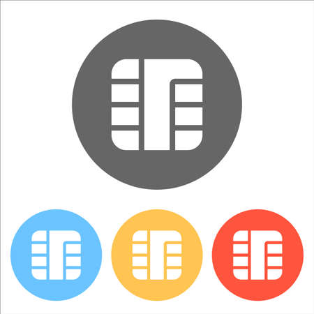 Chip of credit card icon. Set of white icons on colored circles. Illustration