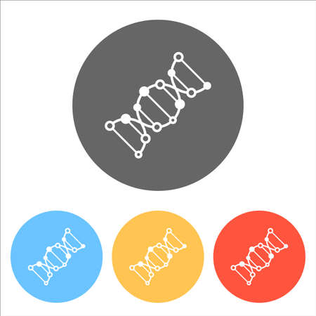 DNA icon. Set of white icons on colored circles illustration.