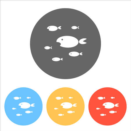 School of fishes. Set of white icons on colored circles. Illustration