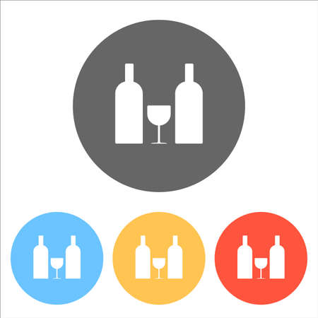 glass and bottles icon. Set of white icons on colored circles