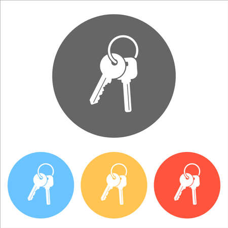 Keys on the ring icon. Set of white icons on colored circles. Illustration