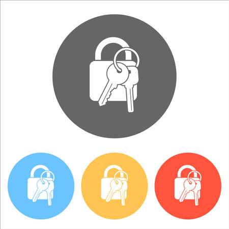 Lock with keys icon. Set of white icons on colored circles. Illustration