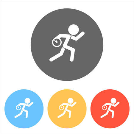 Running man with clock. Simple icon. To be late. An unpleasant situation. Set of white icons on colored circles