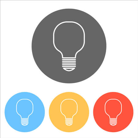 Light lamp icon. Set of white icons on colored circles.