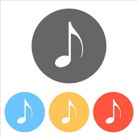 Music note icon. Set of white icons on colored circles 일러스트