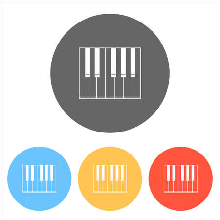 Simple piano icon. Set of white icons on colored circles Vector illustration. Иллюстрация