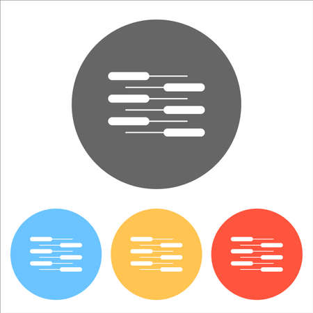 Double piano keyboard icon. Duet. Competition, Vertical view. Set of white icons on colored circles Vector illustration.