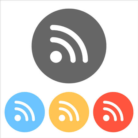 RSS icon. Set of white icons on colored circles Vector illustration.