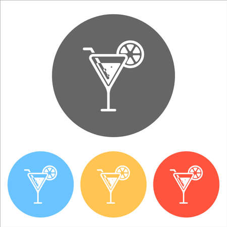 cocktail simple silhouette. Set of white icons on colored circles Vector illustration.