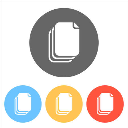 document simple silhouette. Set of white icons on colored circles Vector illustration.