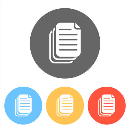 document. simple silhouette. Set of white icons on colored circles