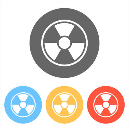 hazard, radiation simple silhouette. Set of white icons on colored circles Vector illustration.