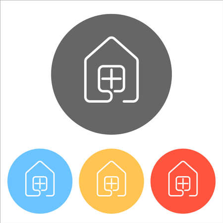 house with window icon. line style. Set of white icons on colored circles