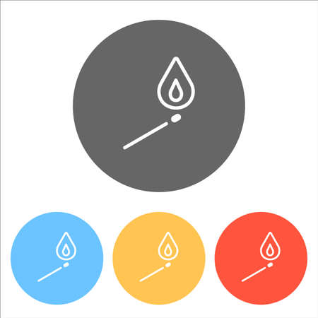 match with flame of fire. simple silhouette. Set of white icons on colored circles Vettoriali