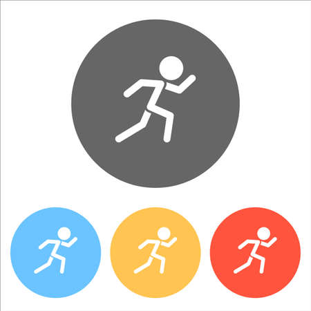 running man. simple icon. Set of white icons on colored circles