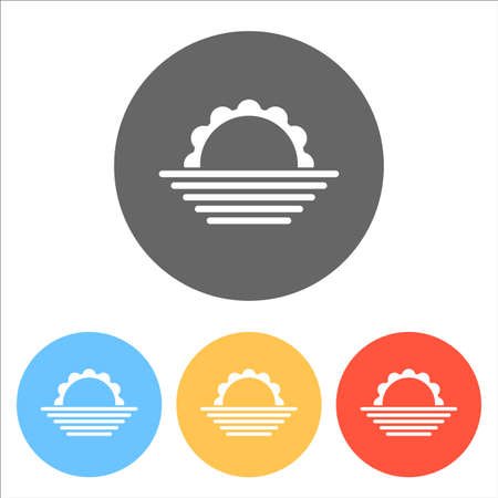sunrise. simple weather icon. Set of white icons on colored circles Ilustração