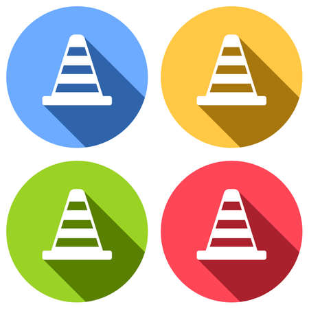 Cone Icon. Set of white icons with long shadow on blue, orange, green and red colored circles. Sticker style